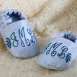 Monogrammed baby shoes created by Janome UK created on Memory Craft 12000