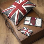 Union flag cushion, wallet & luggage tag created by Janome UK